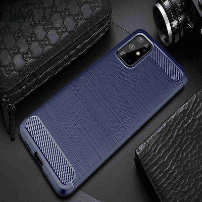 Brushed Pattern Carbon Fiber Solid Color Phone Case for Samsung Galaxy  S20 Plus