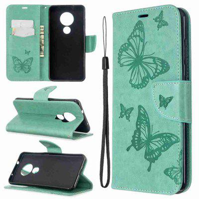 Embossed Two Butterflies PU Phone Case for Nokia 6.2 / Nokia 7.2