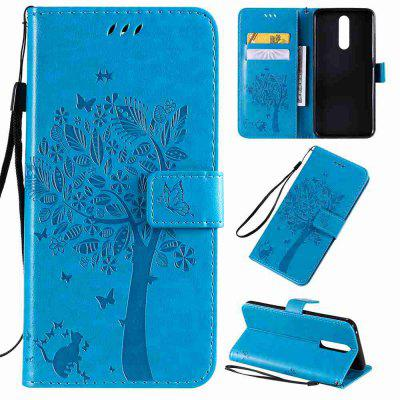 Cat and Tree Embossing PU Phone Case for OPPO F11