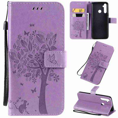 Cat and Tree Embossing PU Phone Case for OPPO Realme 5