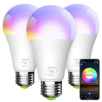 WiFi Alexa Light Bulb A19 E27 7W Dimmable RGBCW Color Changing LED Smart Lights