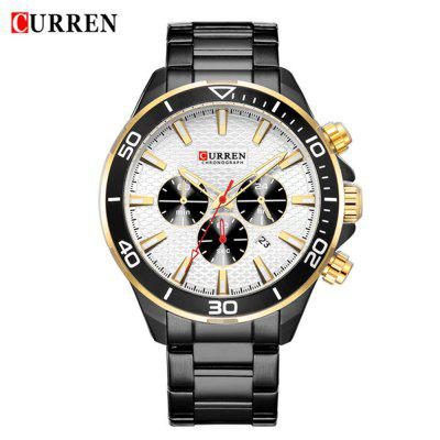 Curren 8309 Mannen Steel Band Kleine Dial Quartz Kalender Six Hands horloge