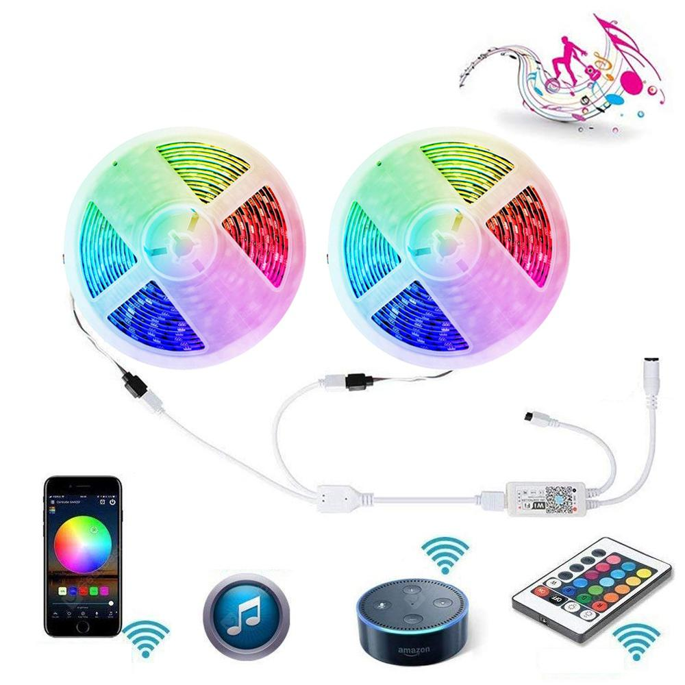 WiFi Intelligent Remote Dimming 2X5M Waterproof 5050 SMD RGB LED Strip Lighting