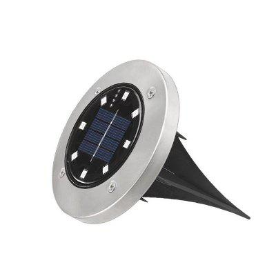 8 LED Solar Lawn Lamp Buried Light Under Ground Lamp Outdoor Path Way Garden - 2700K-3000K Silver