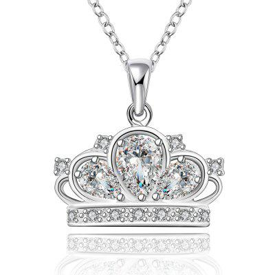 Fashion Crown Shaped Zircon Silver Necklace