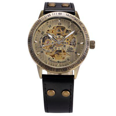 SHENHUA 9259 Men's Belt Hollow Bronze Automatic Mechanical Watch