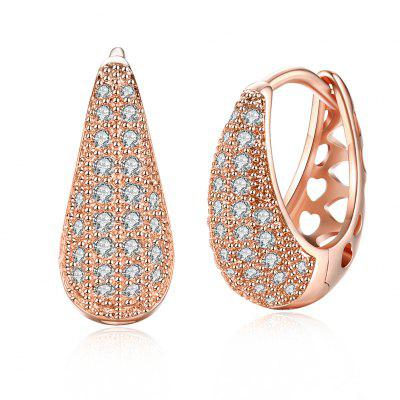 Drop Shaped Set Diamond Romantic Style Earring Clip