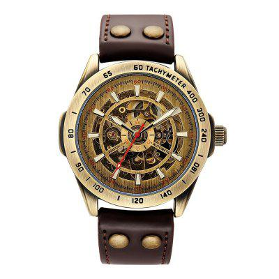 SHENHUA 9281 Men'S Vintage Bronze Belt Steel Band Mechanical Watch