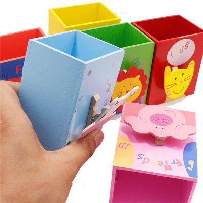 120103 Cartoon Wooden Pencil Case Multifunctional Learning Stationery (6 Packs)