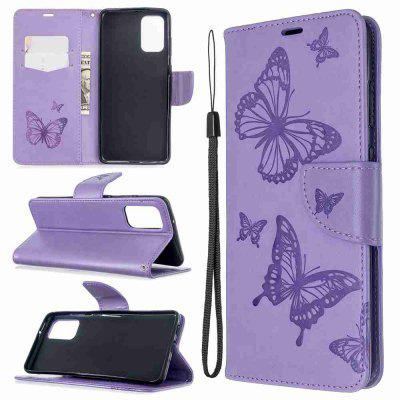 Embossed Two Butterflies PU TPU Phone Case for Samsung Galaxy S20 Plus