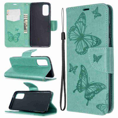 Embossed Two Butterflies PU TPU Phone Case for Samsung Galaxy S20