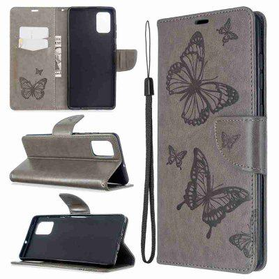 Embossed Two Butterflies PU TPU Phone Case for Samsung Galaxy A71