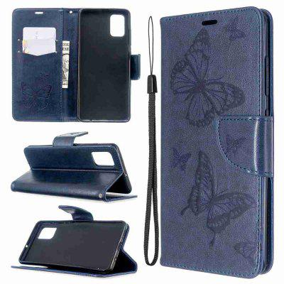 Embossed Two Butterflies PU TPU Phone Case for Samsung Galaxy A51