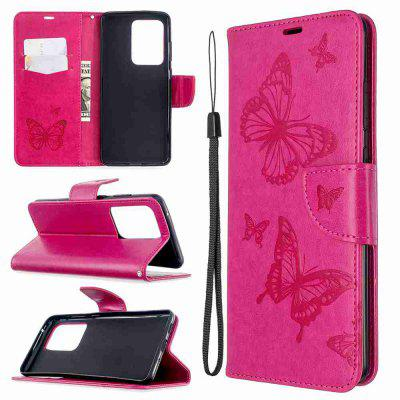 Embossed Two Butterflies PU TPU Phone Case for Samsung Galaxy S20 Ulrta