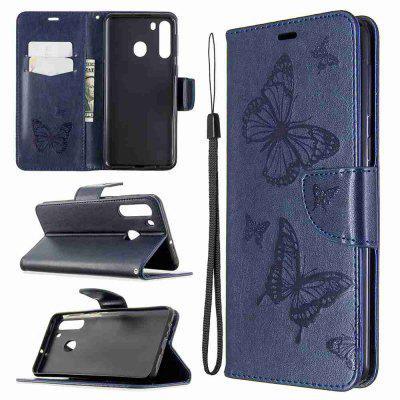 Embossed Two Butterflies PU TPU Phone Case for Samsung Galaxy A21