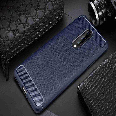 Stały Kolor Brushed Carbon Fiber Phone Case for One Plus 8