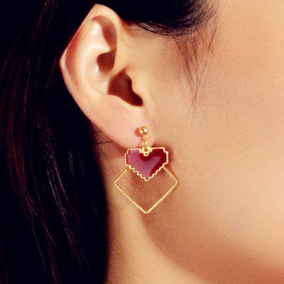Fashionable Golden Love Ruby Drop Earrings