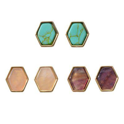 Fashion Candy-colored Geometric Stud Earring Set