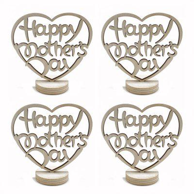 140104 Happy Mother'S Day Wooden Home Furnishing Crafts (4 Pack) Beige