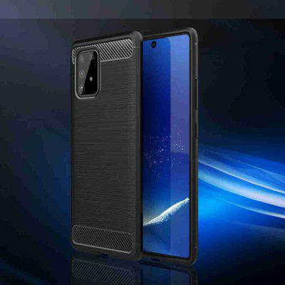 Solid Color Brushed Carbon Fiber Phone Case for Samsung Galaxy A91 / M81S