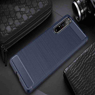 Solid Color Brushed Carbon Fiber Phone Case for Sony Xperia 1 II