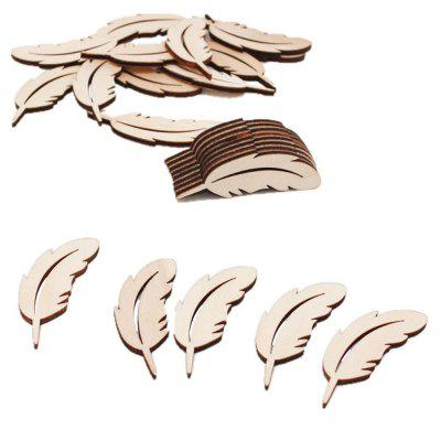 141001 Kreatywne Wood Carving Feather Decoration (50 zestawy)