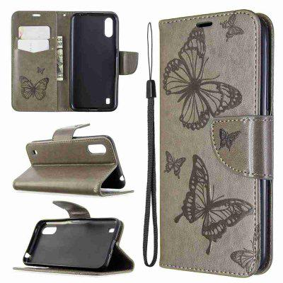 Embossed Two Butterflies PU TPU Phone Case for Samsung Galaxy A01