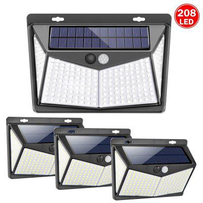 208 LED Outdoor Human Motion Sensing Lamp 1400lm 3Modes Solar-powered Wall Light