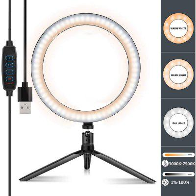 10in Selfie Ring Light with Tripod Stand Dimmable Desktop Lamp Camera Ringlight