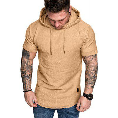 2020 New Solid Color Hooded Men'S Short Sleeve T-Shirt