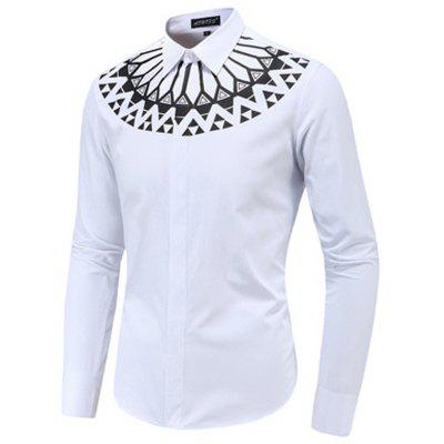 New Fashion Men'S Plus Size Printed Silky Long Sleeve Shirt Slim Shirt