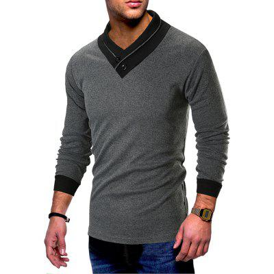 New Men'S Slim V-Neck Stitching Personality Collar Long-Sleeved T-Shirt