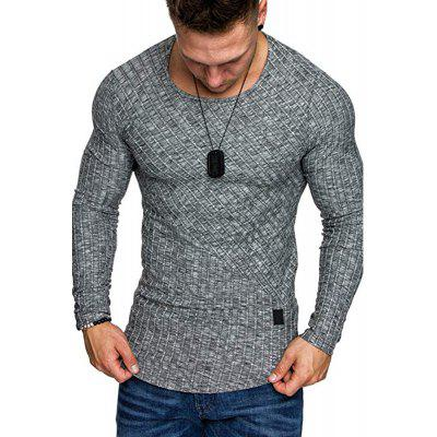 New Fashion Solid Color Leather Label Round Neck Men'S Long Sleeve T-Shirt