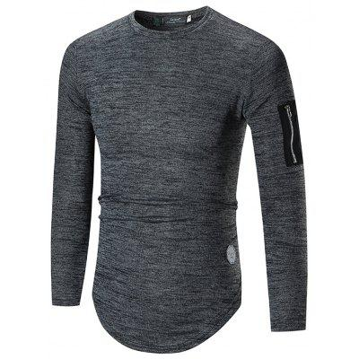 New T-Shirt Men'S Round Neck Bottoming Shirt Plus Size Solid Color Men