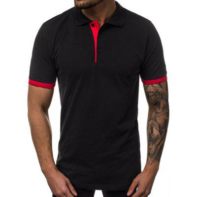 New Solid Color Cuff Stitching Casual Short Sleeve Men'S Shirt