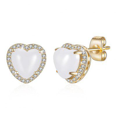 Fashion Jewelry 10 Color Heart-Shaped Stud Champagne Gold Earrings KZCE282
