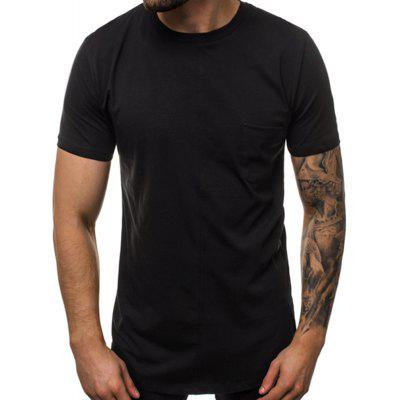 2020 New Solid Color Round Neck Stitching Men'S Short Sleeve T-Shirt