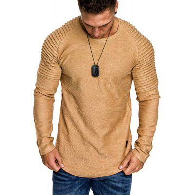 The New Men'S Solid Leather Round Neck Long Sleeve T-Shirt