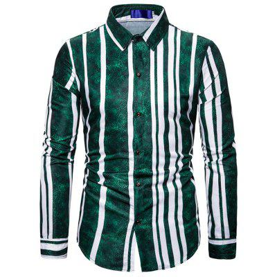 Men'S Long Sleeve Shirt with Gradient Stripes