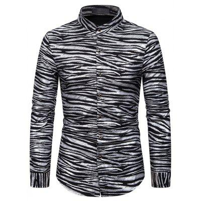 Men'S European-Style Long-Sleeved Shirt Wave Pattern Bronzing