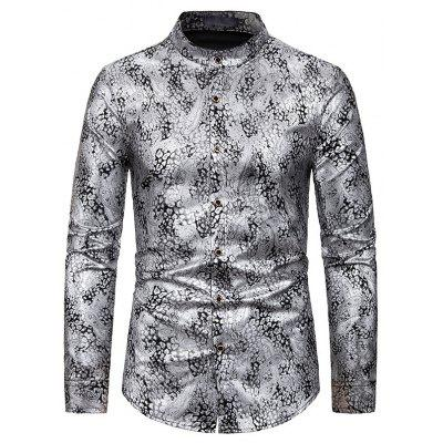 New Men'S European Code Bronzing Long-Sleeved Shirt