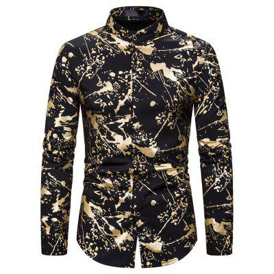 New Men'S Inkjet Printed Long-Sleeved Shirt