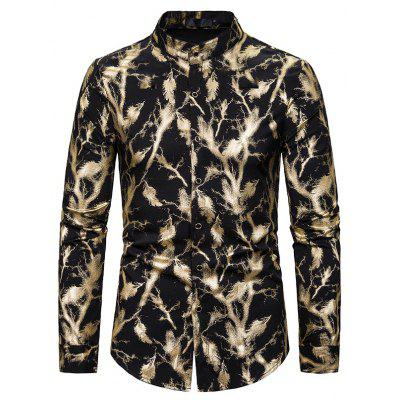 New Casual Men'S Bronzing Printed Long-Sleeved Shirt