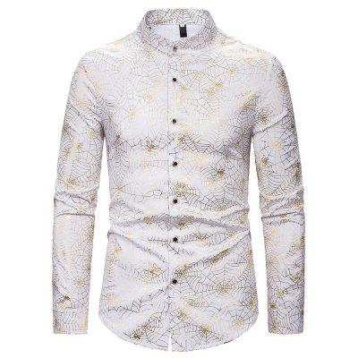Men'S Casual Long Sleeve Shirt with Spider Web Pattern