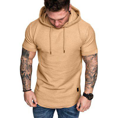 2020 New European Code Solid Color Hooded Men'S Short Sleeve T-Shirt