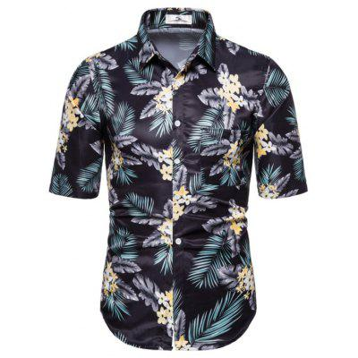 New Casual Fashion Men'S Short Sleeve Floral Shirt