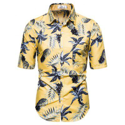 2020 Foreign Trade Summer New Pineapple Printed Short-Sleeved Shirt