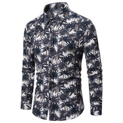 Men'S New Long-Sleeved Shirt Cotton and Linen Floral Large Size Shirt