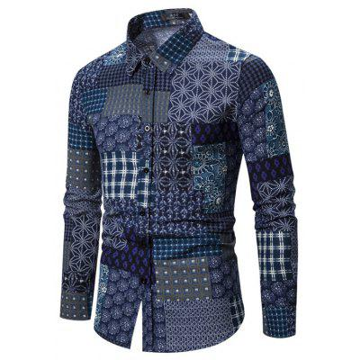 Autumn and Winter New Men'S Long-Sleeved Shirt Cotton and Linen Floral Shirt