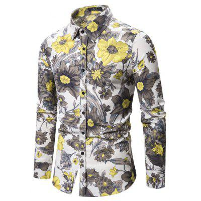 New Long-Sleeved Shirt Cotton and Linen Floral Large Size Shirt